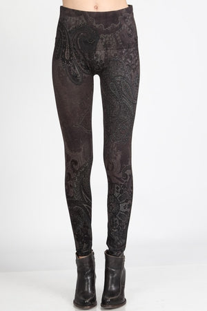 B4437J High Waist Full Length Legging Paisley Waves