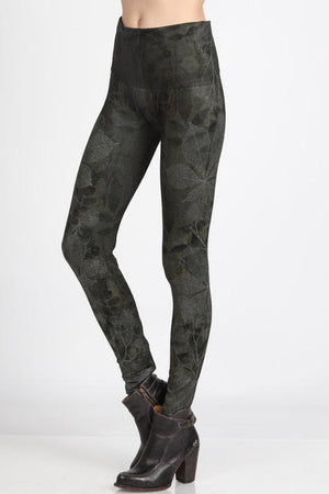 B4437L High Waist Full Length Legging w/Forest Print