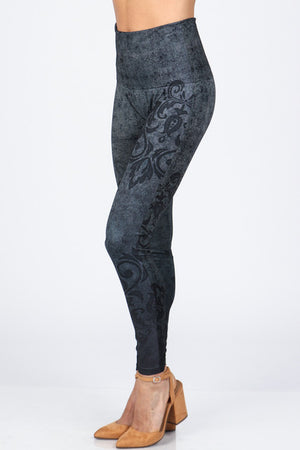 B4222XLM Extended High Waist Full Length Leggings Aquarelle Flora Print