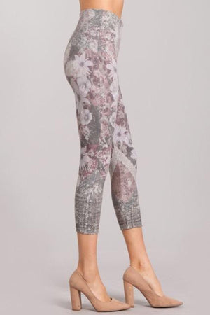 B4438C  Capri/Short Rustic Floral Leggings