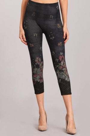 B4438G Capri/Short Multi-Color Floral Leggings