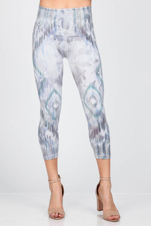 B4438S Capri/Short High Waist Cropped Ikat Print Leggings