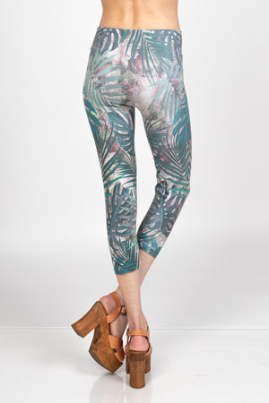 B4438Y Capri/Short High Waist Crop Leggings Tropical Leaves by M.Rena