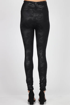 B4813 Camo High Waist Full Length Faux Leather Legging