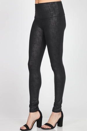 B4818 Twill High Waist Full Length Textured Twill Faux Leather Legging