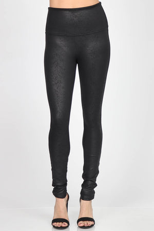 B4819 High Waist Full Length Antiquated Faux Leather Legging