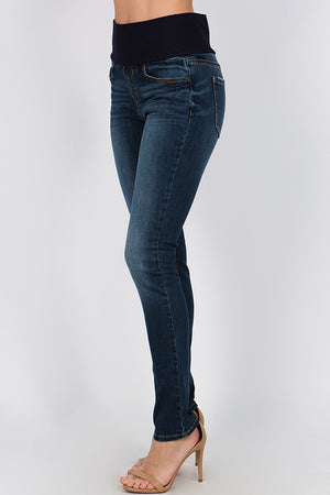 B4891 Indigo Slim Full Length Jeans High Waistband