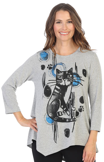 BT2-1445 Rain Cat Baby Terry Asymmetric Tunic