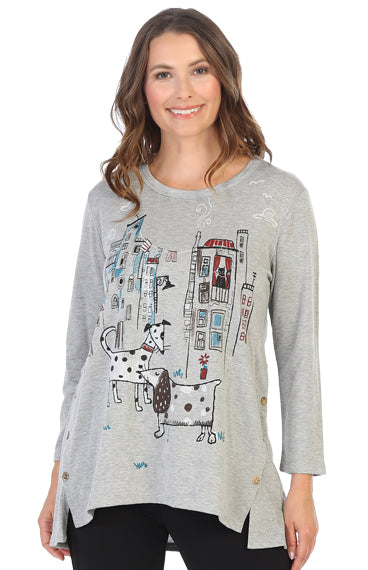 BT3-1436 City Pups Baby French Terry Side Button Tunic