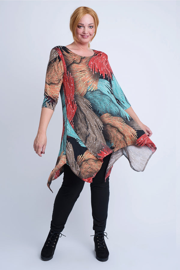 Sharkbite Tunic - Red Print.   ONLINE ONLY