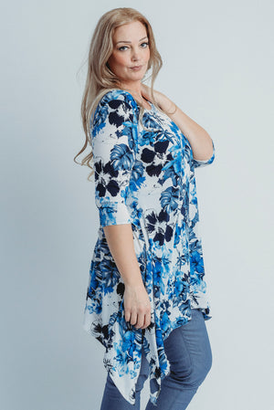 Sharkbite Tunic - Blue Floral ONLINE ONLY