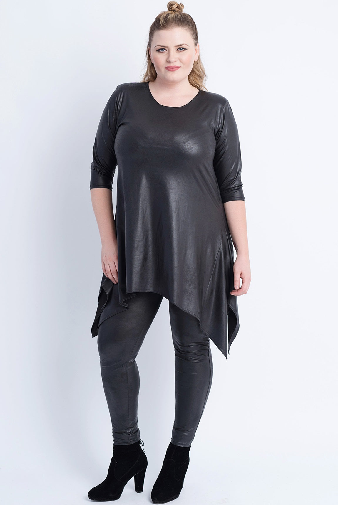Sharkbite Tunic - Leather Look Black