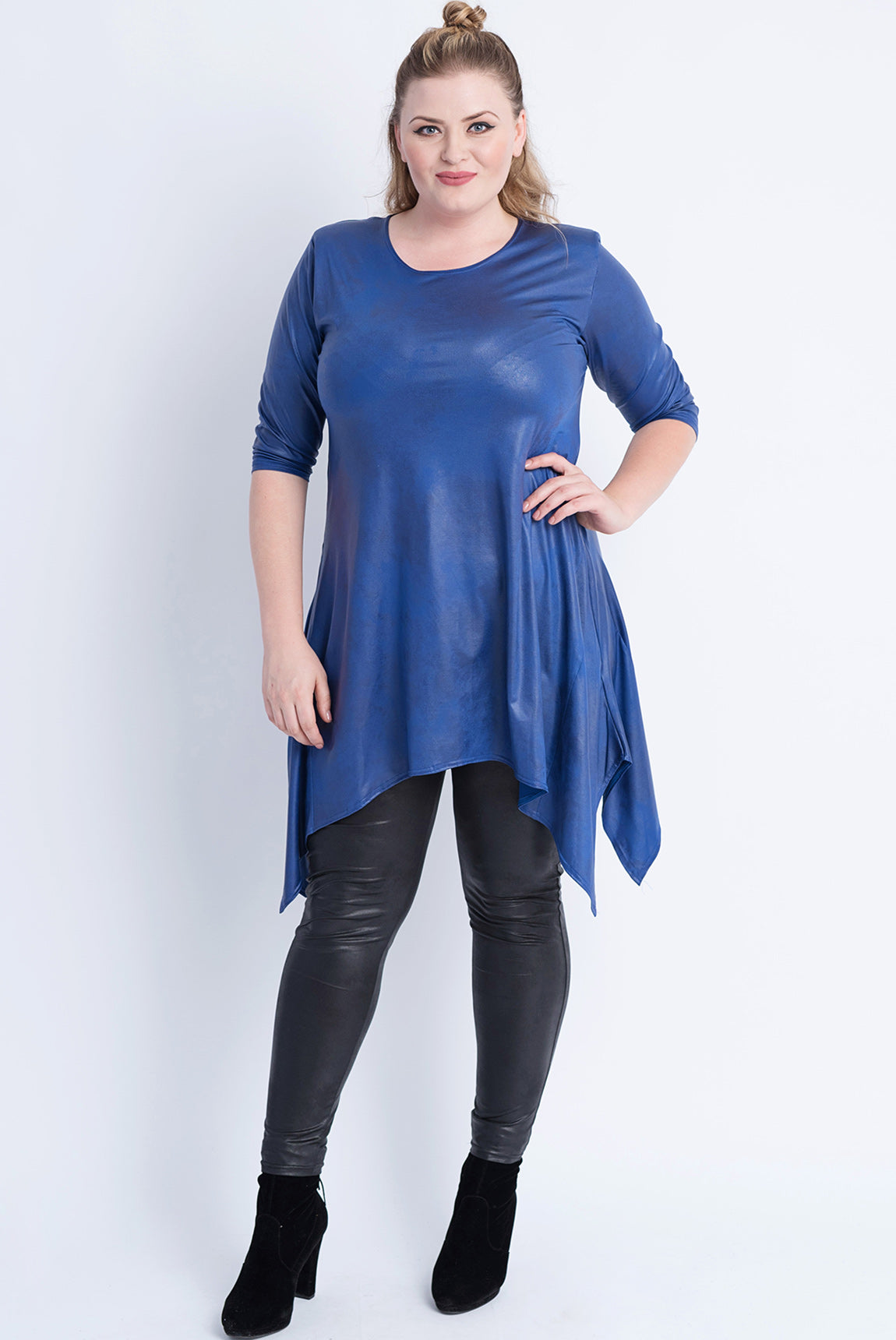 Sharkbite Tunic - Leather Look Cobalt