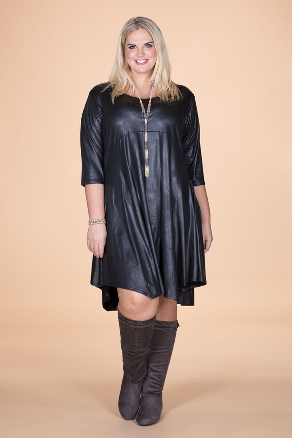 Long Black Leather Look Tunic