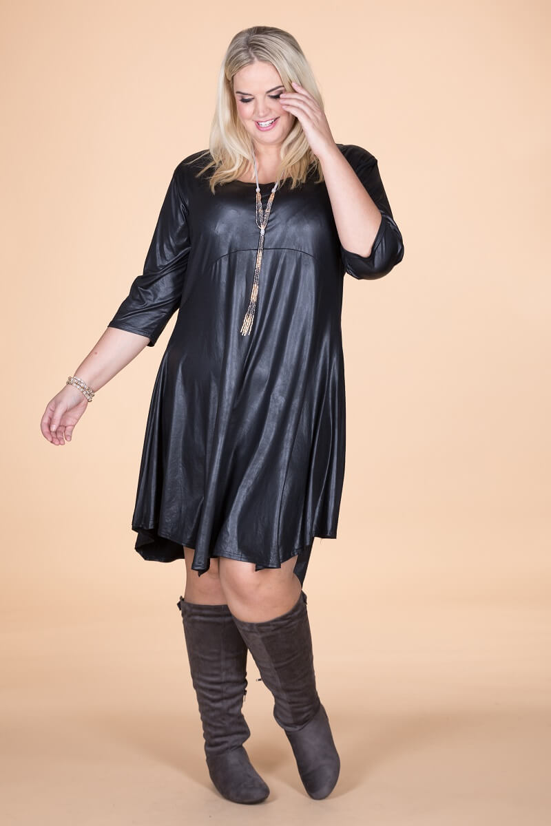 Long Black Leather Look Tunic.   ONLINE ONLY