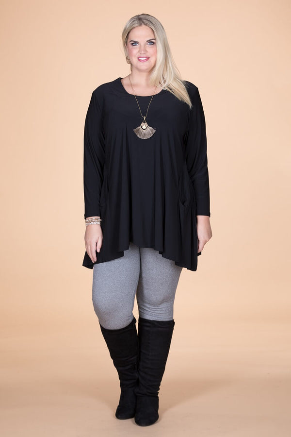 Black Sharkbite Long Sleeve Tunic.  ONLINE ONLY