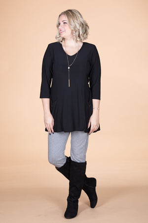 Black 3/4 Sleeve Pocket Style Tunic
