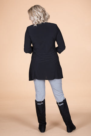Black 3/4 Sleeve Pocket Style Tunic.  ONLINE ONLY