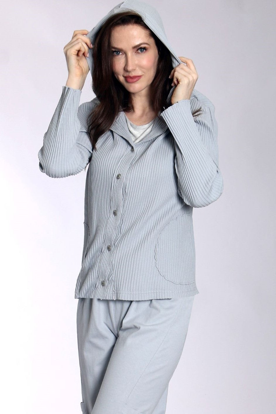 C43862SIL Hooded Jacket with Pockets Silver