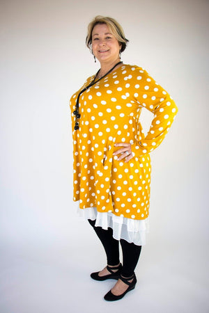 2AM Long Sleeves Polka Dots Tunic