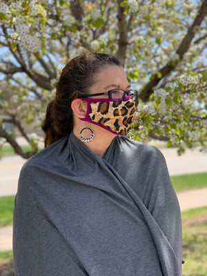 Cheetah Face Mask with Dark Magenta Trim - without filter