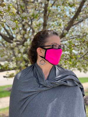 Hot Pink Face Mask with Black Trim - without filter