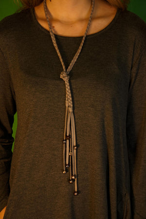 NKL501 Braided Leather Lariet Necklace