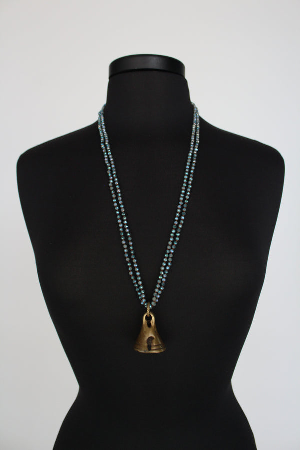 Crystal Brass Bell Necklace