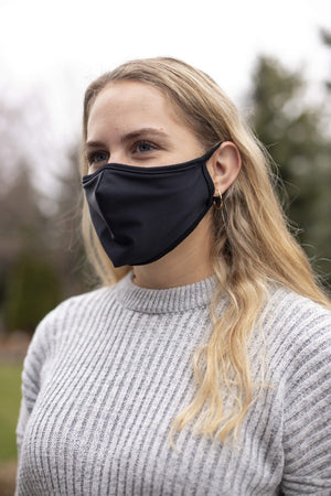 Plain Black Seamed Face Mask with black trim - without filter
