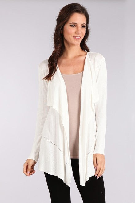 J4003 Open Draped Cardigan with Contrast Rib and Holes Detail