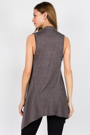 J4295 Open Front Draped Sleeveless Cardigan