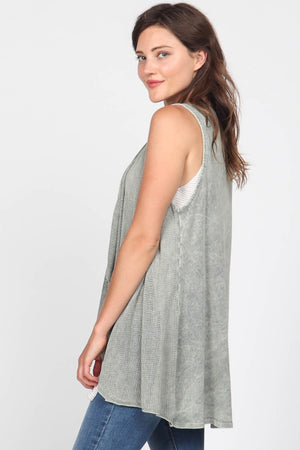 J4528A Mineral Wash Sleeveless Open Front Draped Cardigan w/Contrast Fabric