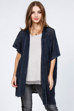 J4542A Mineral Wash Open Front Poncho Cardigan