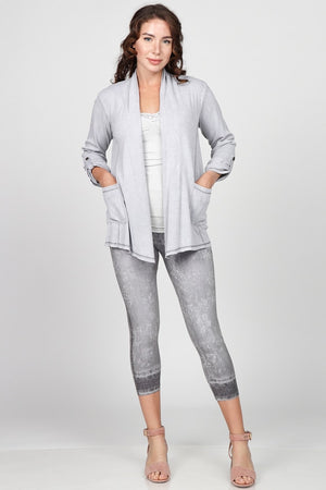 J4565A Mineral Washed Open Draped Cardigan