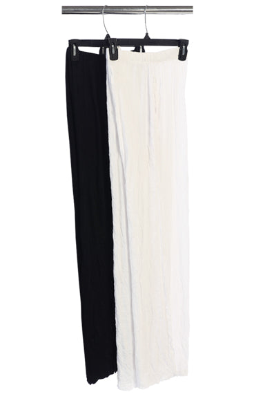 MC111 Melange Crushed Black Crop Pants w/Side Slits and Side Pockets