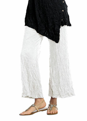 MC120 Melange Crushed Crinkle Ankle Pants with Side Pockets