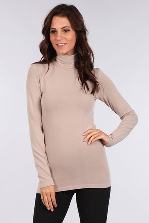 S3411 Fold Over Turtle Neck Long Sleeve Seamless Top