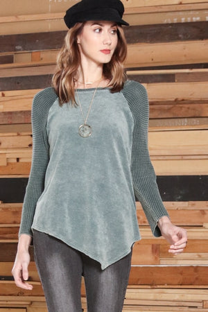 S4526A Round Neck Raglan Long Sleeve Tunic w/Contrast Sweater