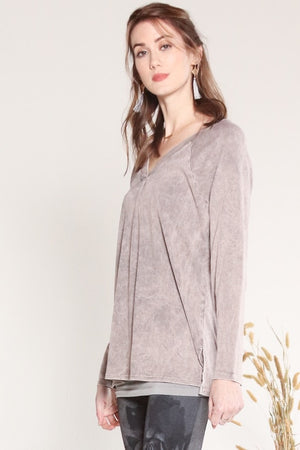 S4633A V-Neck Ragian Long Sleeve Tunic w/Pleat Details