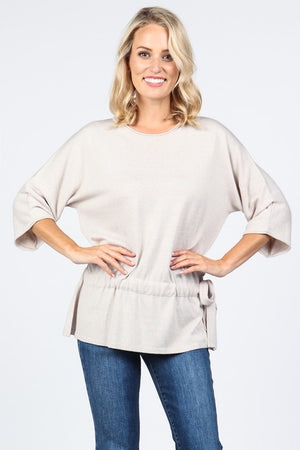 S4647 Round Neck Dolman Sleeve Sweater Tunic w/Tie Detail