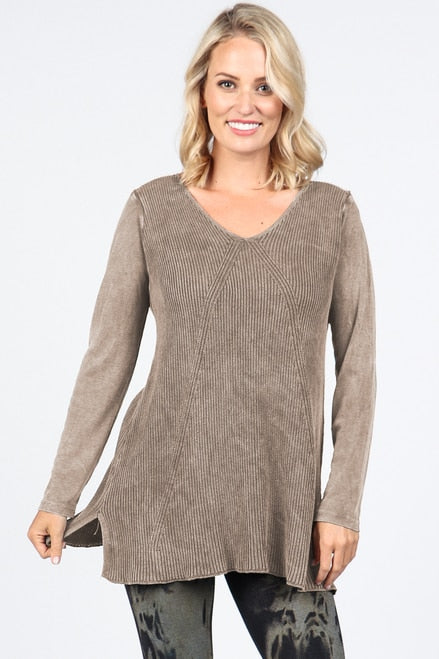 S4655A V-Neck Long Sleeve Sweater Tunic
