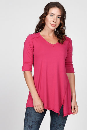 S4738 V-Neck Asymmetrical Tunic
