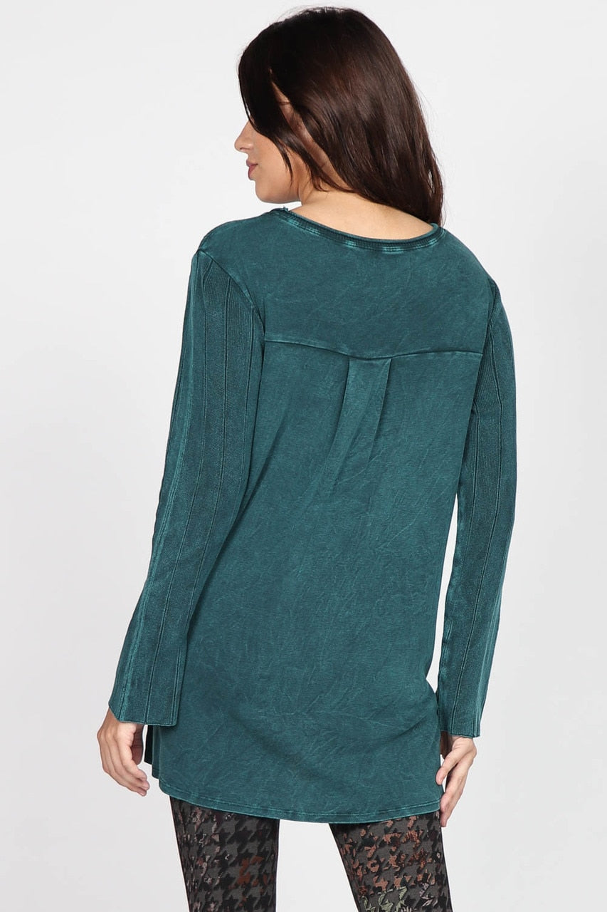 S4797A Mineral Wash Rib Sweater Tunic