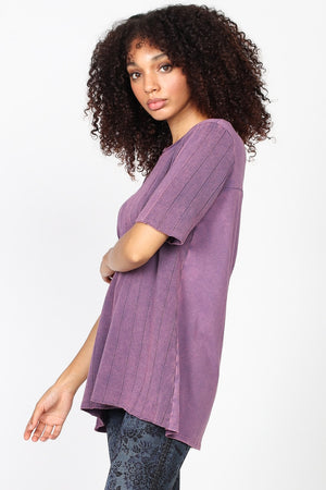 S4849A Mineral Washed Rib Sweater Tunic