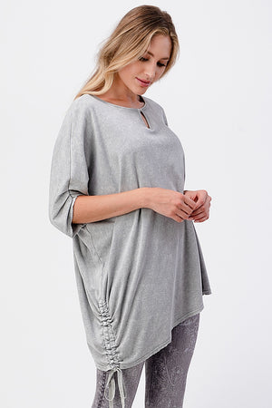 S4876A Mineral Wash Reversible Tunic with Sleeve and Tie Detail