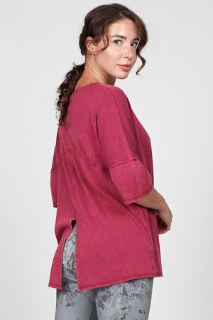 S4883A Mineral Washed Top with Center Back Slit
