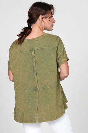 S4905A Mineral Washed Top with Buttons