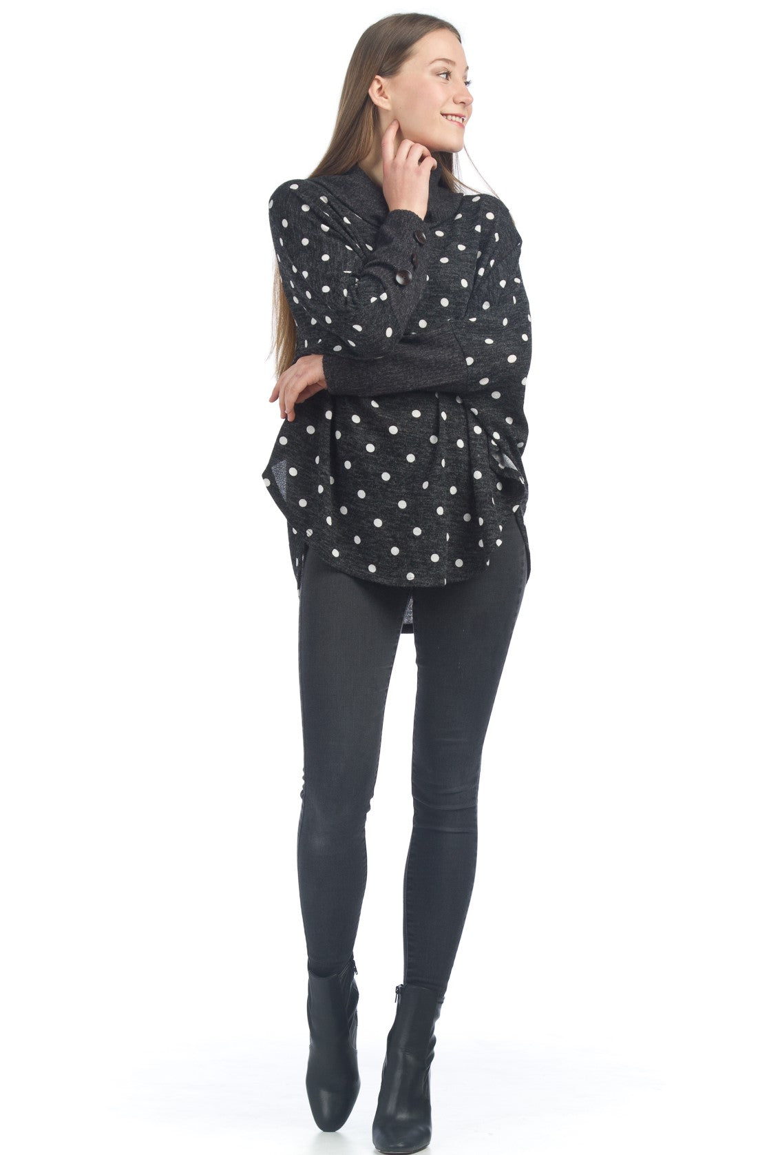 Polka Dot Poncho with Button Detail