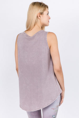 V4681A Mineral Wash V Neck Sleeveless top with Stitching