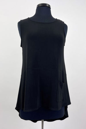 Madeline Tank with Pocket - Black Solid